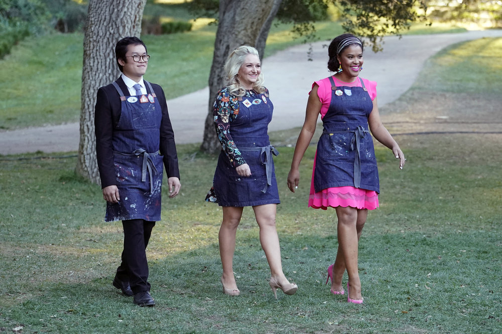 "MAKING IT -- ""Happily Ever Crafter"" Episode 106 -- Pictured: (l-r) Khiem Nguyen, Joanna Gick, Amber Kemp-Gerstel -- (Photo by: Paul Drinkwater/NBC)"