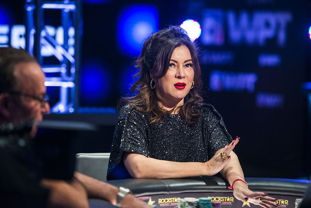 Jennifer Tilly doing what she does best at the poker table