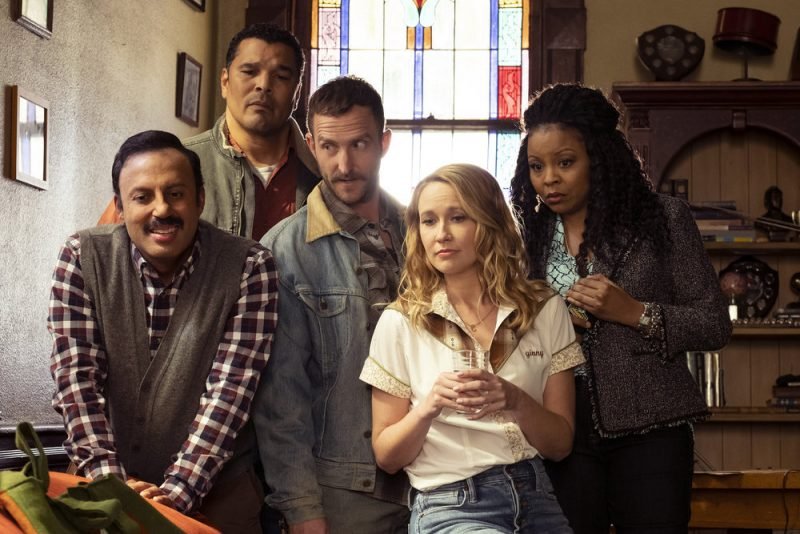 """PERFECT HARMONY -- """"Pilot"""" Episode 101 -- Pictured: (l-r) Rizwan Manji as Reverend Jax, Geno Segers as Dwayne, Will Greenberg as Wayne, Anna Camp as Ginny, Tymberlee Hill as Adams -- (Photo by: Justin Lubin/NBC)"""