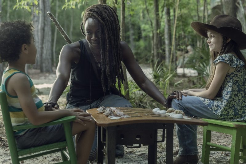 Antony Azor as RJ, Cailey Fleming as Judith Grimes, Danai Gurira as Michonne - The Walking Dead _ Season 10, Episode 1 - Photo Credit: Jackson Lee Davis/AMC