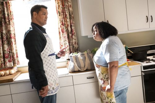 """PERFECT HARMONY -- """"Any Given Monday"""" Episode 108 -- Pictured: (l-r) Geno Segers as Dwayne, Desi Dennis-Dylan as Karla -- (Photo by: Justin Lubin/NBC)"""