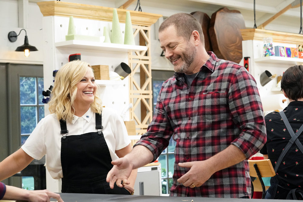 "MAKING IT -- ""What Are You Made Of?"" Episode 201 -- Pictured: (l-r) Amy Poehler, Nick Offerman -- (Photo by: Evans Vestal Ward/NBC)"