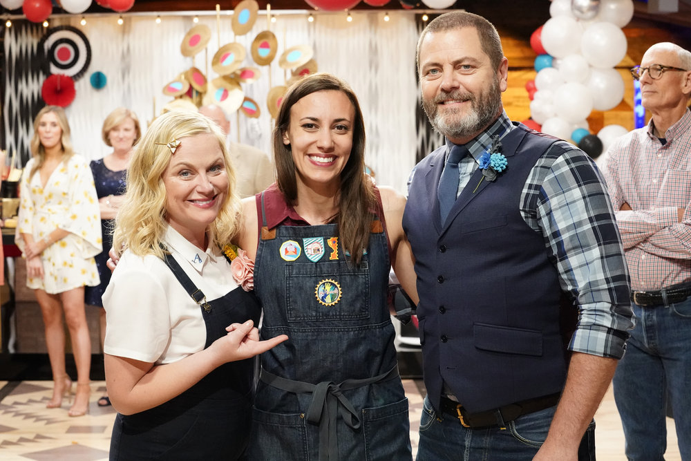 "MAKING IT -- ""You Made It!"" Episode 208 -- Pictured: (l-r) Amy Poehler, Justine Silva, Nick Offerman -- (Photo by: Evans Vestal Ward/NBC)"