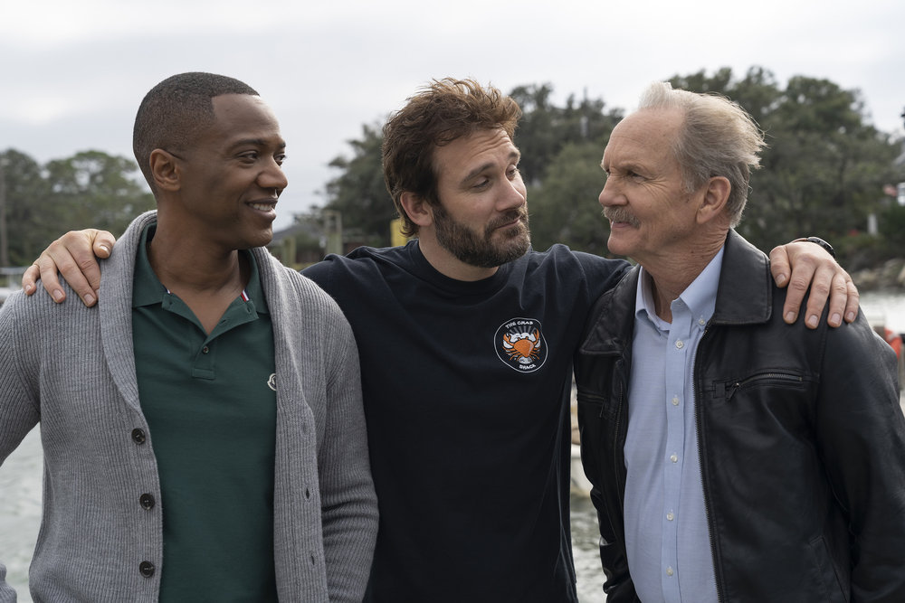"COUNCIL OF DADS -- ""What Do You Want To Be?"" Episode 103 -- Pictured: (l-r) J. August Richards as Dr. Oliver Post, Clive Standen as Anthony Lavelle, Michael O'Neill as Larry Mills -- (Photo by: Seth F. Johnson/NBC)"