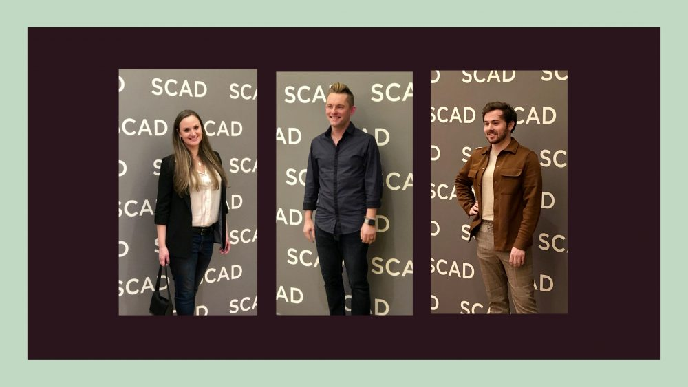 SCAD Alumni Joanna Brooks, Dustin Berry and Caleb Holland at SCAD aTVfest 2020. photo credit: Tracey Phillipps/So Many Shows Layout: Adobe Spark