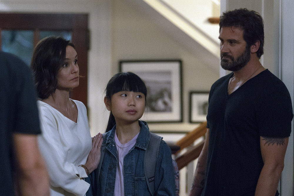 "COUNCIL OF DADS -- ""I'm Not Fine"" Episode 102 -- Pictured: (l-r) Sarah Wayne Callies as Robin Perry, Thalia Tran as Charlotte Perry, Clive Standen as Anthony Lavelle -- (Photo by: Seth F. Johnson/NBC)"