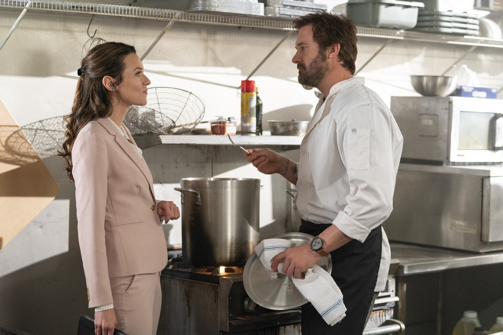 """COUNCIL OF DADS -- """"Who Do You 'Wanna' Be?"""" Episode 103 -- Pictured: (l-r) Hilarie Burton as Margot, Clive Standen as Anthony Lavelle -- (Photo by: Seth F. Johnson/NBC)"""