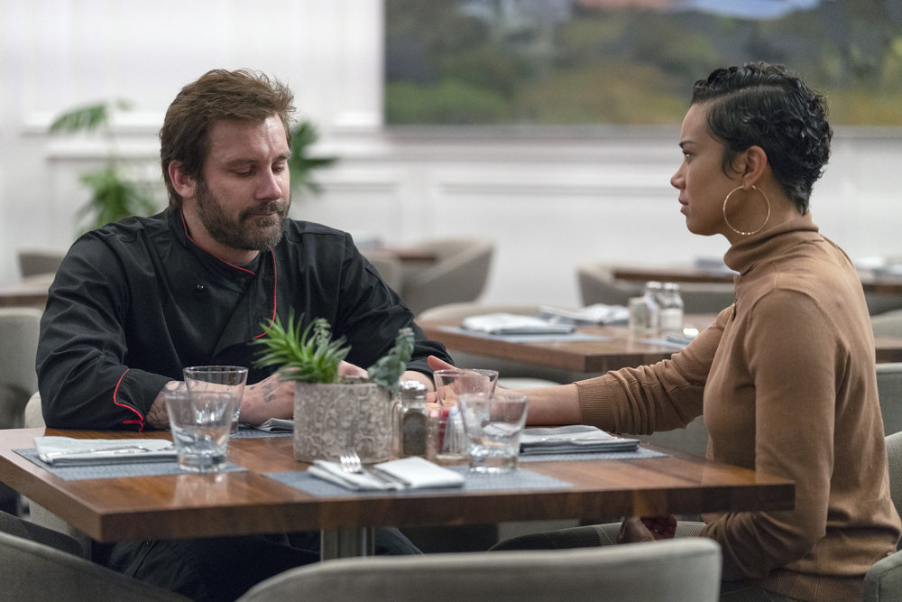 "COUNCIL OF DADS -- ""Dear Dad"" Episode 108 -- Pictured: (l-r) Clive Standen as Anthony Lavelle, Michele Weaver as Luly Perry -- (Photo by: Seth F. Johnson/NBC)"