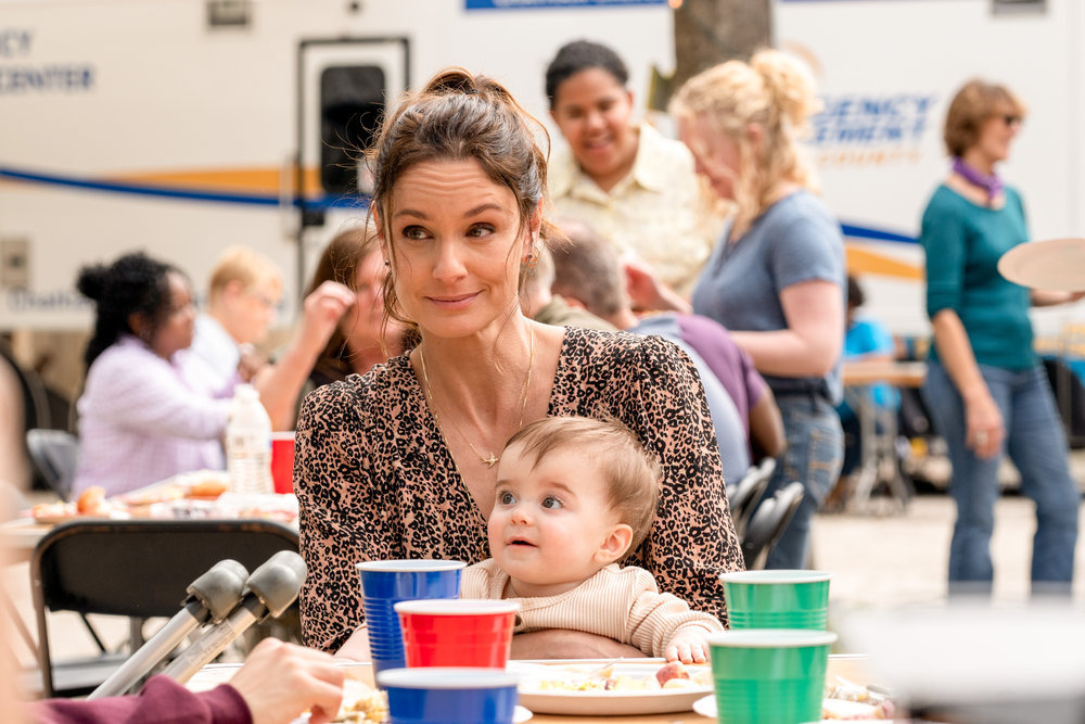 "COUNCIL OF DADS -- ""Fight Or Flight"" Episode 110 -- Pictured: (l-r) Sarah Wayne Callies as Robin Perry, Baby Hope -- (Photo by: Seth F. Johnson/NBC)"