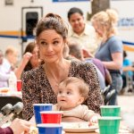 """COUNCIL OF DADS -- """"Fight Or Flight"""" Episode 110 -- Pictured: (l-r) Sarah Wayne Callies as Robin Perry, Baby Hope -- (Photo by: Seth F. Johnson/NBC)"""