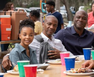 "COUNCIL OF DADS -- ""Fight Or Flight"" Episode 110 -- Pictured: (l-r) Lindsey Blackwell as Tess Post-Richards, J. August Richards as Dr. Oliver Post, Kevin Daniels as Peter Richards -- (Photo by: Seth F. Johnson/NBC)"