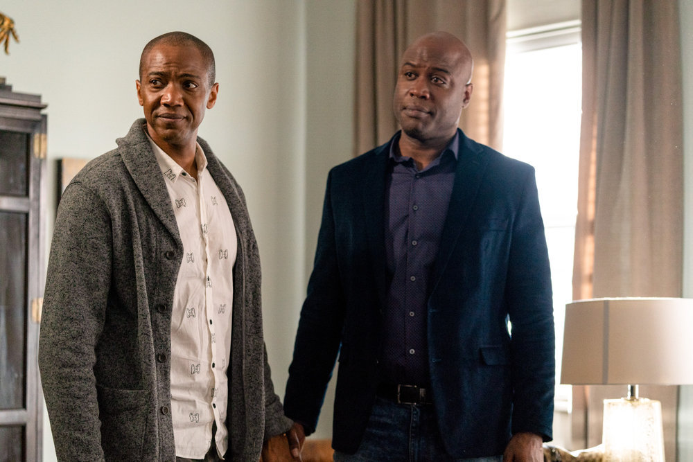 "COUNCIL OF DADS -- ""Fight Or Flight"" Episode 110 -- Pictured: (l-r) J. August Richards as Dr. Oliver Post, Kevin Daniels as Peter Richards -- (Photo by: Seth F. Johnson/NBC)"