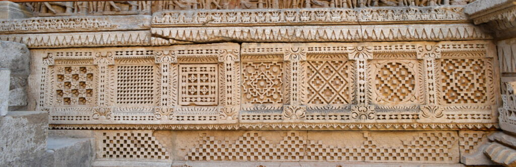 Geometrical and Decorative patterns of Patola, Rani Ki Vav, Patan, Gujarat