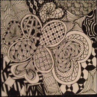 zentangle flower and heart