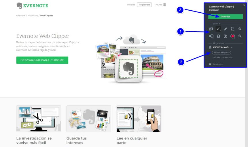 Web Clipper como herramienta de la agenda digital Evernote 3