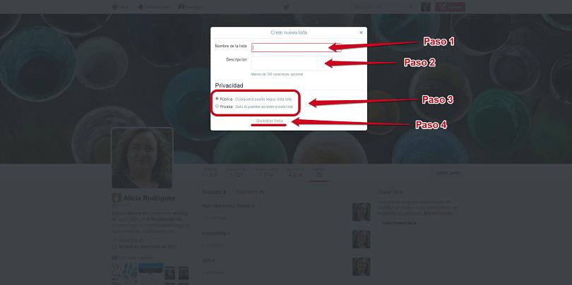Crear nueva lista en Twitter 2