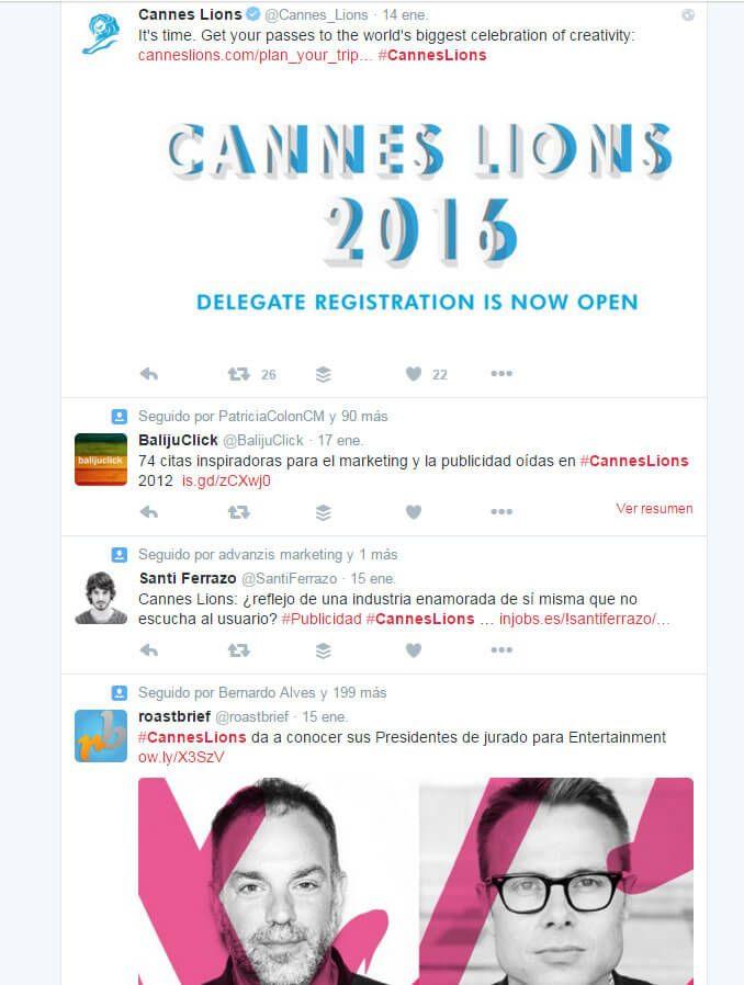 Herramientas de Marketing hashtag #CannesLions