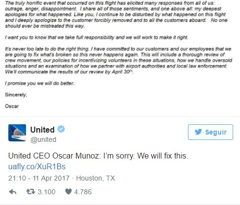 Plan de gestión de crisis - respuesta oficial United