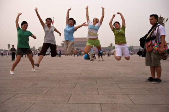 jumping in tiananmen