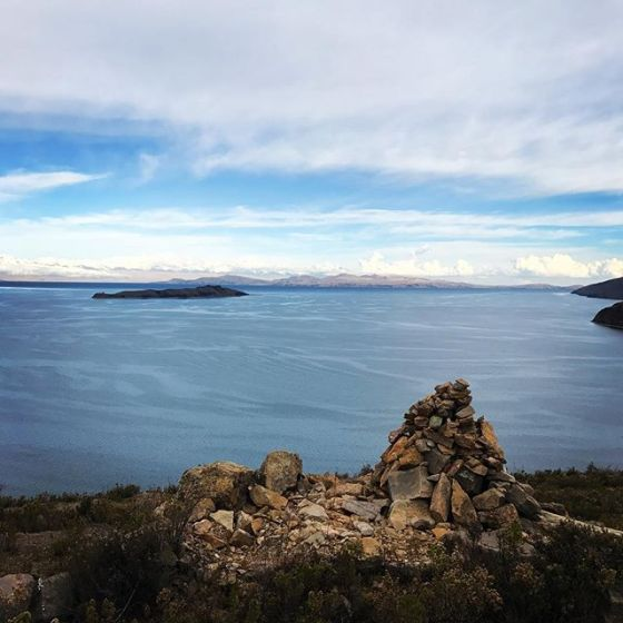 Lake Titicaca, highest navigable Lake in the world. Looking over at Bolivia.