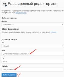Запись в DNS хостинга