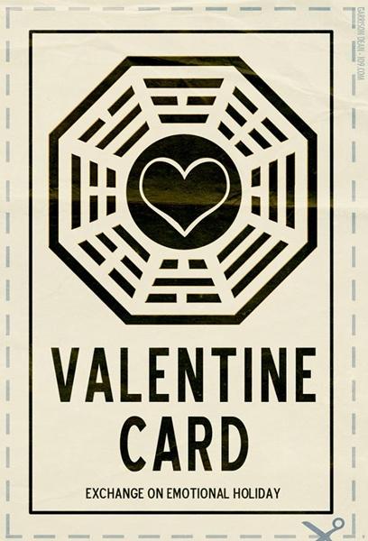 Cartão de dia dos namorados inspirado no seriado Lost