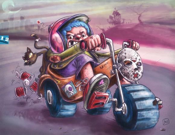 Criança no triciclo ilustração