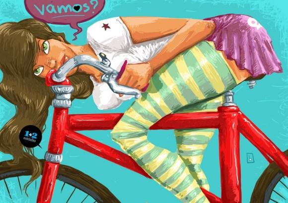 Ilustração de mulher andando de bicicleta