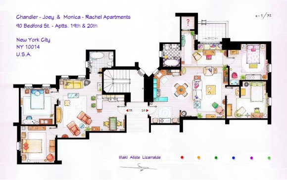 Apartamento de Joe - Chandler e Monica - Rachel - Friends