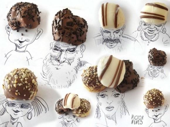 Desenhos com objetos do cotidiano - doces