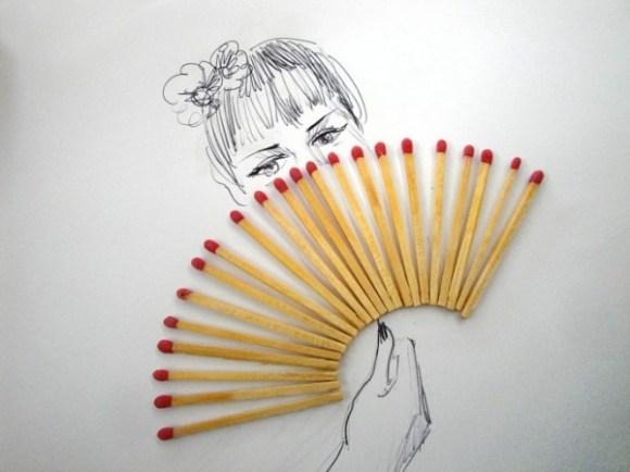 Desenhos com objetos do cotidiano - fósforo