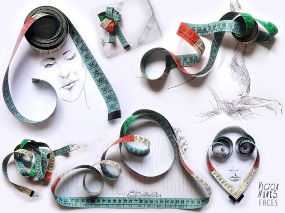 Desenhos com objetos do cotidiano - fita métrica