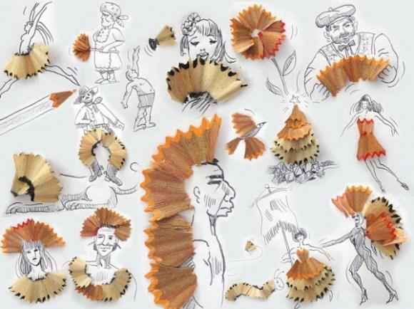 Desenhos com objetos do cotidiano - lápis