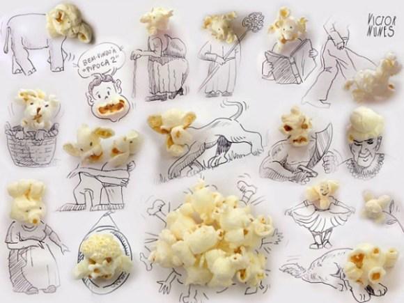 Desenhos com objetos do cotidiano - pipoca
