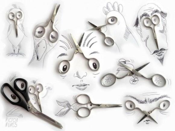 Desenhos com objetos do cotidiano - tesoura