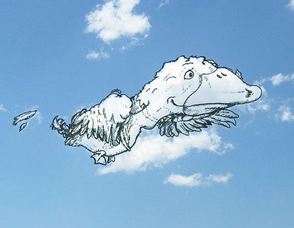 Desenho em nuvens - Pato (1)