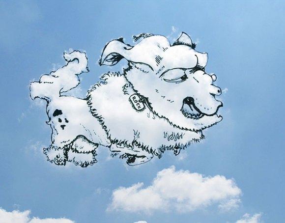 Desenho em nuvens - cão (1)
