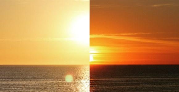 Colagens mostram como o céu muda de cor rapidamente durante o pôr do sol
