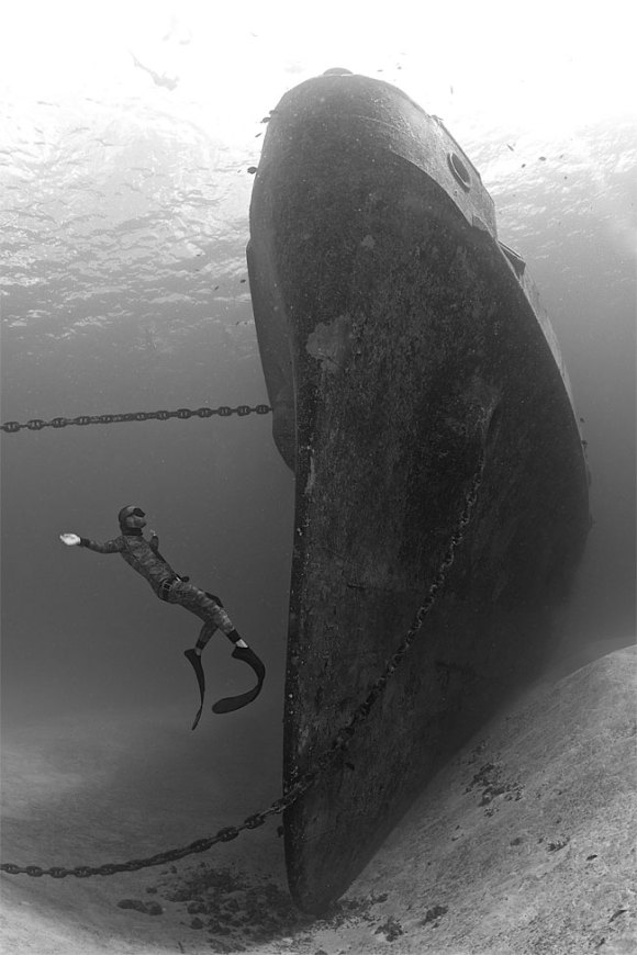 2014 Underwater Photography Photo Contest winners, Wide angle wrecks category, 1st place. Photo by Ellen Cuylaerts