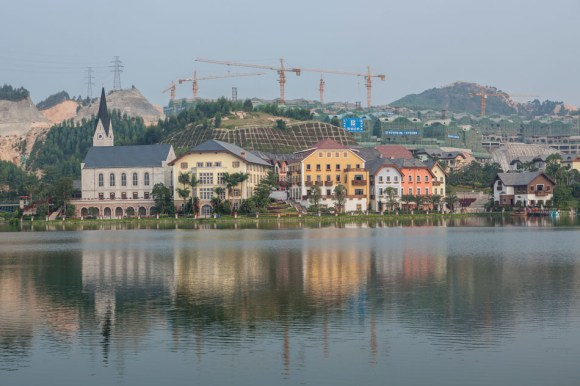 The new Hallstatt in Guangdong is now the centerpiece of a massive luxury villa development set against a artificial lake in Guangdong province.