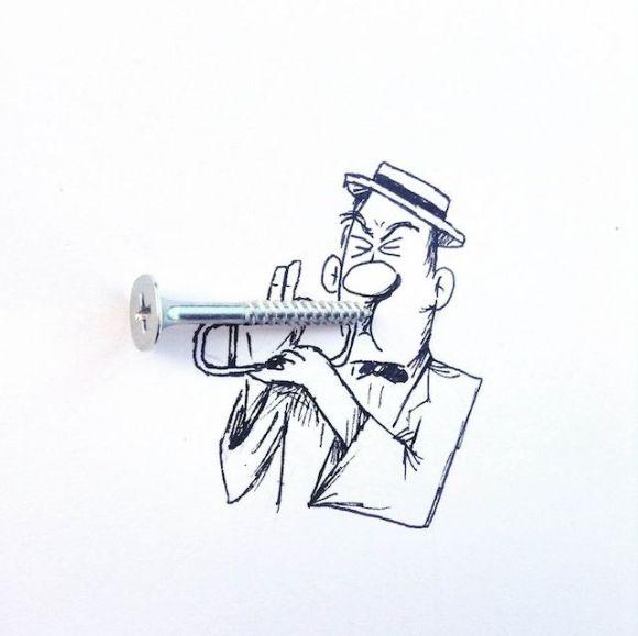Ilustrações com objetos do cotidiano 1
