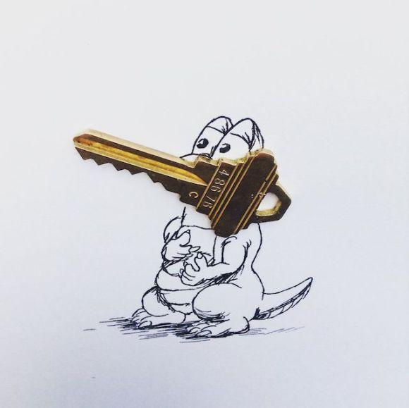 Ilustrações com objetos do cotidiano 13