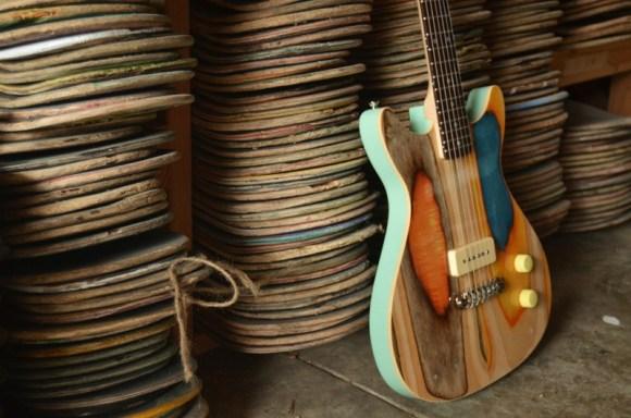 guitarras feitas de Skate 1