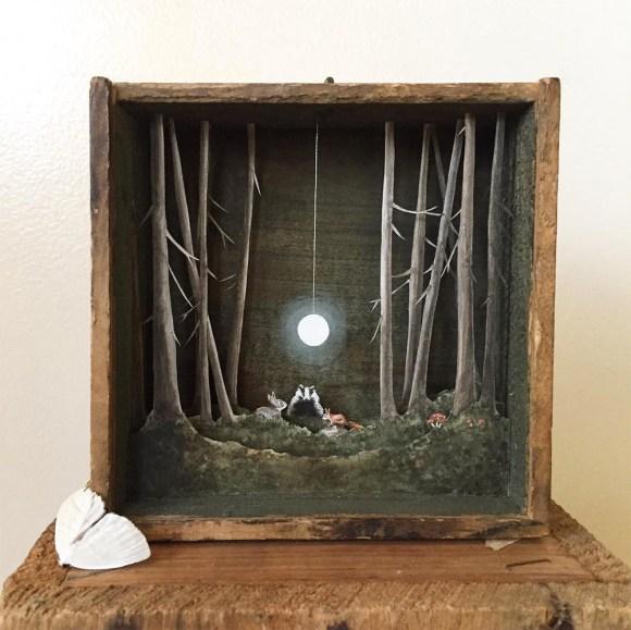 Arte - mundos em caixas de madeira 2