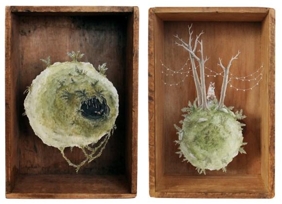 Arte - mundos em caixas de madeira 3