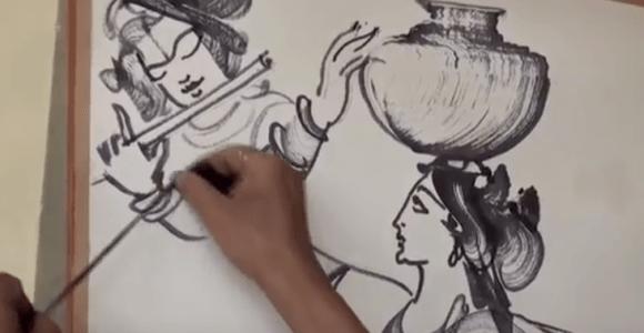 Artista indiano faz desenhos usando fios de algodão