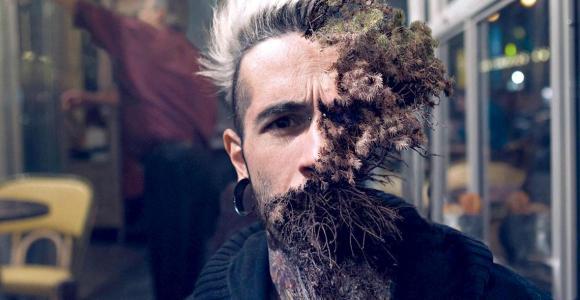 Artista digital faz plantas crescerem em rostos humanos