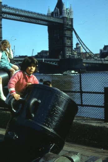 London 1969 Tower Bridge cannon children