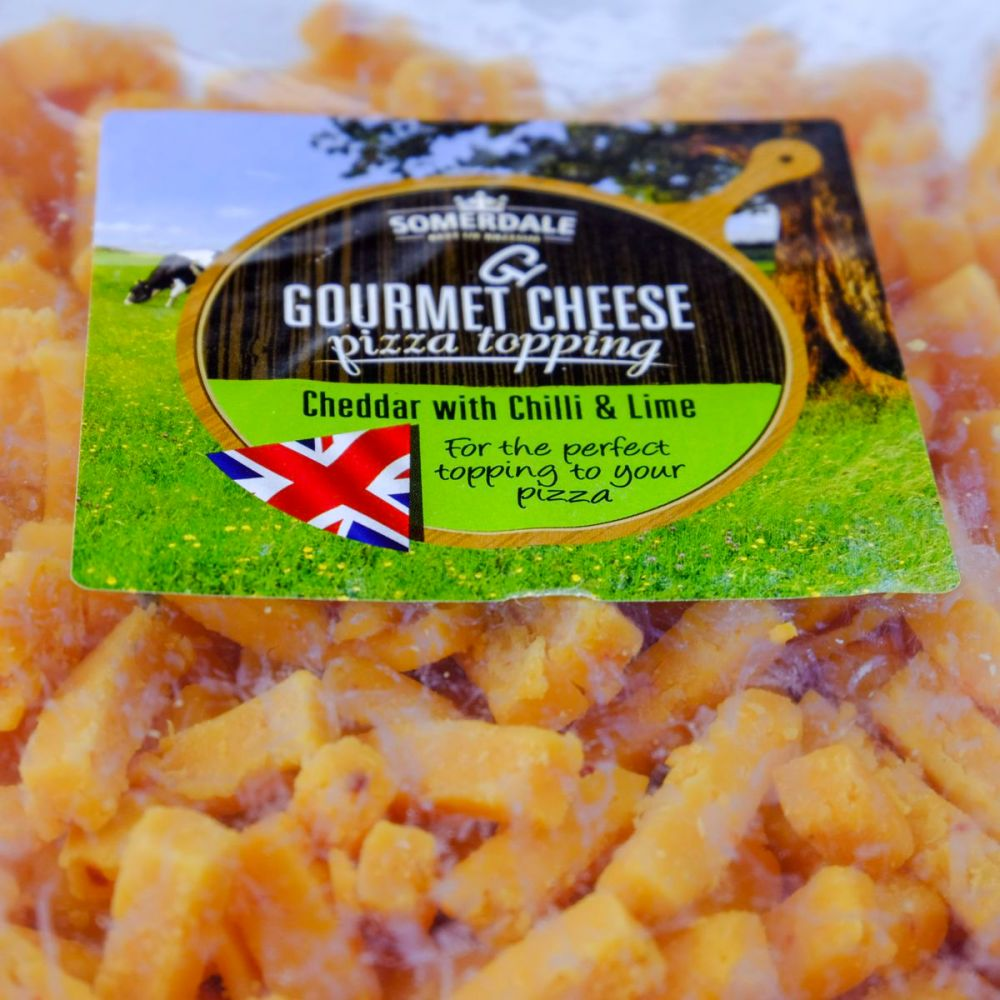 Cheddar with Chilli and Lime Gourmet Cheese Pizza Topping from Somerdale International Ltd