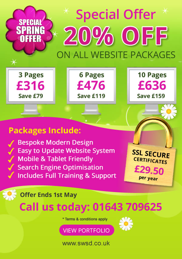 Spring Website Offer – 20% OFF until 1st May